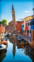 Off Kilter (JDWCurtis) Tags: tower leaningtower lean leaning burano colour colourful street town italy italian venice venezia religion religioushouse religious tourism tourist tourists holiday solo solotraveller traveller travels travel bright water waterway waterfront canal reflection reflections