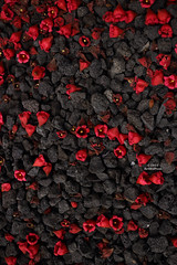 Serendipitous Study In Contrasts (Art By Pem Photography: Tao Of The Wandering Eye) Tags: fineartphotography canon eos sl1 canonefs24mmf28stm stilllife flowers petals blooms gravel rocks black red charcoal texture rough soft smoooth coarse hard color colour contrast usa