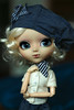Parisienne (Virvatulia) Tags: pullip classical alice sepia pullipalice pullipsepia alicesepia rewigged blonde curly wig monique beret hat blue grey stripey scarf frenchwoman madamoiselle portrait