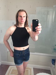 Crop top and hot pants (Mystical Becky) Tags: croptop crossdressing crossdresser tgirl hotpants transvestite