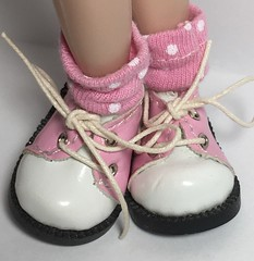 Pink and White Dots...Short Socks For Blythe...