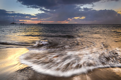 Swirl (D-Adams) Tags: maui lahaina sunset ocean surf beach boats sail sand d7100 nikon sky clouds horizon rushing rush swirl hawaii sea nature landscape beautiful evening twilight colors aloha paradise vacation coast sailing