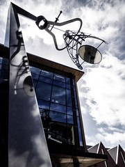 Calculating the Mathematics of Art (Steve Taylor (Photography)) Tags: duncancotterillplaza 148victoriast duncancotterill art architecture digital sculpture building office window blue white glass metal newzealand nz southisland canterbury christchurch cbd city autumn cloud sky caliper laser frame mirror