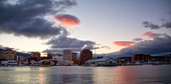 Pink UFO's (Keith Midson) Tags: hobart city clouds pink water waterfront evening sky tasmania