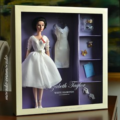 White diamonds. (morado enamorado) Tags: elizabeth taylor barbie doll white diamonds silkstone body hollywood glamour actress perfume jewels tiara cat hot tin roof movie vintage dress gold label