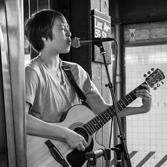 Lex Av (John St John Photography) Tags: streetphotography candidphotography 59thstreet ntrain mta lexingtonavenue newyorkcity newyork singer guitarist acoustic microphone busker subwaystation feeling emotion bw blackandwhite blackwhite blackwhitephotos johnstjohn