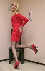 A red dress. (sabine57) Tags: crossdressing transvestism crossdress crossdresser cd tgirl tranny transgender transvestite tv travestie drag pumps highheels stockings nylons seamedstockings seamednylons dress reddress