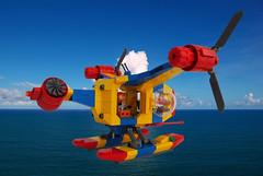 Kestrel Tilt Rotor SAR (David Roberts 01341) Tags: lego tiltrotor aircraft aeroplane airplane helicopter sar rescue floatplane minifigure town city future scifi brightcolours sea