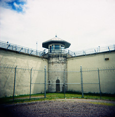 recreation yard at KP (.grux.) Tags: holga120n film fujifilm fujichromems1001000 expiredfilm xpro crossprocessed 120 mediumformat 6x6 plasticfantastic zonefocus kp kingstonpenitentiary prison kingston