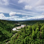 Views of the Chulitna River and a Forest of Green to Mountains Beyond (Denali State Park) thumbnail
