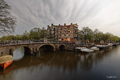 Amsterdam (alamsterdam) Tags: amsterdam canal papeneiland longexposure cafe prinsengracht brouwersgracht bridge reflection bikes people boats sky anno1754