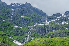 Waterfalls all running down the mountain in Norway (firstfire53) Tags: norway europe lofoten