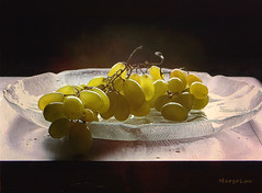Summer Grapes ... (MargoLuc) Tags: grapes summer fruits sweet yellow green window light soft backlight glass dish black background stilllife table indoor