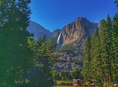 Yosemite Falls (lindayaecker) Tags: falls cascades travel touristattractions blueskies valley meadows foodtruck trees mountainside mountains parks waterfalls