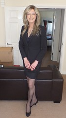 First day at the office. Dress to impress (Monica Galvez) Tags: crossdressing suit elegant ofiice