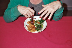 (Anne-Sophie Landou) Tags: food pink nails hands candid diner green people film 35mm analog flash mundane