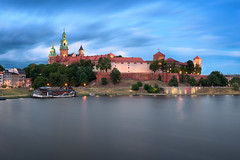 The Wawel Castle and Wisla River in the Evening, Krakow, Poland (ansharphoto) Tags: antique architecture attraction building castle cathedral church city cityscape cracow dusk electric europe european evening gothic hill historic history iconic illuminated krakow landmark landscape lights medieval monument night palace park poland polish polska river riverbank royal sky skyline tourism tower town travel twilight urban view vistula wall water wawel wisla