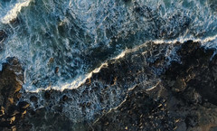 Wave Crashing on Rocks (hessamt) Tags: sheepislandmaine coreamaine coastal granite wave atlanticocean aerial magichour whitefoam blue green lines mesh network djiphantom4proplus nature scenic landscape polarizer