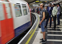 Sounds Of The Underground (Douguerreotype) Tags: candid england london people tunnel uk underground urban british train city bank britain subway gb metro tube station