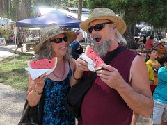 Watermelon Summer (moonjazz) Tags: fruit fun people east funny fresh food summer refreshing slide festival worldfest munch man woman humor hat beard photo taste good cold hot sunglasses favorite red bite seeds yummy laugh juicy melon shades cool characters pleasure fair couple