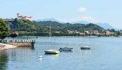 Angera from Arona (ccarl_03) Tags: italy italia boats angera arona water houses buildings mountain castle rocca