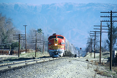 ATSF 306C with Amtrak Chief, Rialto, CA about 5 miles west of San Bernardino, CA in February 1972 - Roger Puta's My Santa Fe Program February 22, 1986 (2) (railfan 44) Tags: santafe