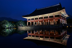 Gyeonghoiroo in the Gyeongbokgung Palace (Johnnie Shene Photography(Thanks, 2Million+ Views)) Tags: gyeongbokgung palace gyeonghoiroo imperialpalace royalpalace joseon chosun ancient korea korean architecture building exterior manmade artificial lowangle night nighttime longexposure eaves roof asia asian style oldstyle artificiallight reflection lake pond seoul photography horizontal outdoor colourimage fragility freshness nopeople foregroundfocus adjustment interesting awe wonder fulllength travel destination attraction landmark local regional trip tourism summer dark affection delicate gorgeous canon eos80d 80d sigma 1770mm f284 dc macro lens 경회루 경복궁 서울 조선 궁궐 법궁 왕궁