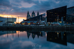 Sunset at the Docks in Liverpool (Pastel Frames Photography) Tags: liverpool united kingdom uk albert docks sunset water reflections travel travelphotography reflection buildings skyscraper cityscape clouds sky sun