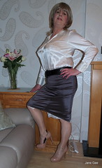 Lacy not Cagney (janegeetgirl2) Tags: transvestite crossdresser crossdressing tgirl tv ts stockings heels garters nylons glamour office lacy slip half satin blouse stilettos fully fashioned high vintage seams black contrast suspenders jane gee video pencil skirt legs split ankle chain