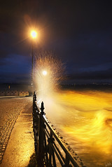 Storm Warning (johaennesy) Tags: storm weather lakeconstance bodensee friedrichshafen yellow lake water waves opensourcesoftware gimp rawtherapee nightphotography night pentaxian pentax