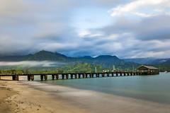 Hanalei Pier at Dawn (Joyce and Steve) Tags: hanalei pier hanaleipier kauai hawaii dawn seaside oean mountains green rainy cloudy