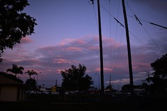 To the East (Images by Jeff - from the sea) Tags: sunset bluesky powerpoles powerlines clouds palmtrees car streetlights trafficlights bundaberg queensland australia nikon d7200 tamronsp2470mmf28divcusd