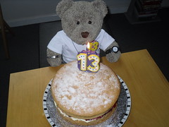 Wanna slice? (pefkosmad) Tags: tedricstudmuffin teddy bear ted birthday 13 thirteen thirteenthbirthday cake victoriasandwich victoriasponge birthdaycake number candle cards birthdaycards greetingscards teenage teenager age celebration