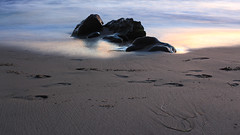 Blurred Lines (Gavin Minera) Tags: nature shore beach color california water longexposure footprints texture blue