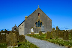 St. Magnus Church - Birsay (rustyruth1959) Tags: nikon nikond3200 tamron16300mm alamy church uk scotland orkney birsay stmagnuschurch stmagnus building religiousbuilding churchyard tombs graves headstones path grass window cross wall outdoor earlthorfinn parishchurch parish sky blue bluesky flowers
