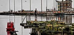 West Jetty (tobymeg) Tags: statue leith docks dragan effect sea water jetty edinburgh antony gormley panasonic dmctz10 old redone