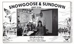 Sundown Photo Series #00: Snowgoose & Sundown - Lucille Bice (73sand88s by Cardboard America) Tags: qslcard qsl cb cbradio vintage idaho sundown artistcard