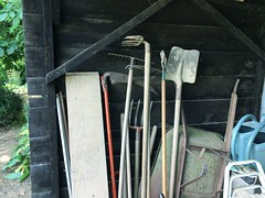 Neighbours' allotment tools, France (Dradny) Tags: flowwrs fruit walk vegetables france allotment tools