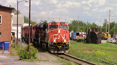 CN M30511-10 passing through Edmundston Yard (MaineTrainChaser) Tags: 71017 cn nb qc trains train west westbound pelletier subdivision canada