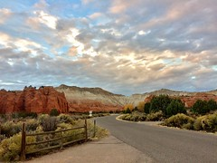 Kodachrome Entrance (Neal3K) Tags: kodachromebasinstatepark utah road gate cliffs clouds geology sky red brush