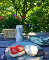 breakfast outside (ekelly80) Tags: montana bozeman june2017 roadtrip keisgoesusa bigskycountry breakfast outside alfresco beautiful garden morning