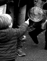 Soft touch (michelecannavo) Tags: reaching moving blackandwhite streetphoto street people life soap balls london touch