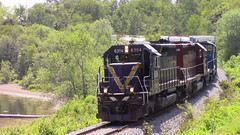 907 Along Grand Bsy (MaineTrainChaser) Tags: 72017 nbsr nb trains train 907 west westbound mcadam subdivision