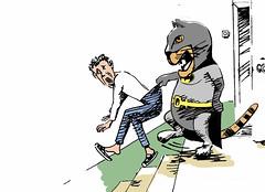 Batcat retribution (osipovva) Tags: zhivodyor revenge retribution justice flayer caricature animals graphic pet cat petmaster batcat batman cruel cruelpeople cruelperson cruelty