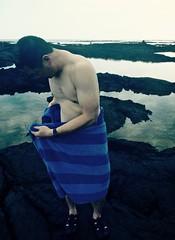 Kapoho Tide Pools, Big Island (JasChamPhoto) Tags: shoreline dusk towel shirtless barechested man tidepools kapoho western bigisland hawaii