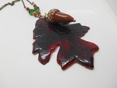 Polymer Clay Pendant Acorn and Oak Leaf by LynzCraftz (LynzCraftz) Tags: polymerclay pendant jewelry necklace oneofakind handmade art resin