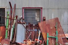 Scrap (holly hop) Tags: rust greenrust redrust windowwednesdays hww window corrugatediron shed industrial junk