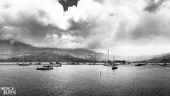 Hanalei Bay (Patrick.Burns) Tags: monochrome beach island hanaleipier hanaleibeach hanaleibay ocean water shore boats clouds kauai hawaii