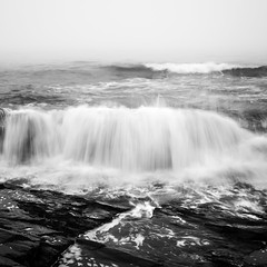 White Wash No. 2 (Mabry Campbell) Tags: capeelizabeth maine newengland us usa unitedstates unitedstatesofamerica blackandwhite bw coast coastal fineartphotography fog foggy image intimateseascape le longexposure minimal monochrome motion movement nopeople northeastus northeastunitedstates ocean photo photograph photography rock rocks sea seascape splash squarecrop water waves white whitewash f16 mabrycampbell august 2013 august132013 201308130h6a5409 40mm 03sec 100 ef1740mmf4lusm