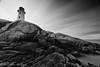 Peggy's Cove Lighthouse (taharaja) Tags: baddeck boathouse canada capebretton clouds hatimrajashadi highlands ingonish jetty lighthouse missisaugua nationalpark niagarafalls novascotia ocean peggyscove toronto usa water cabottrailinverness longexposure